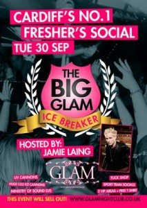 cardiff freshers tickets icebreaker glam with jamie laing 2014