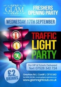 cardiff freshers tickets traffic light party at glam nightclub