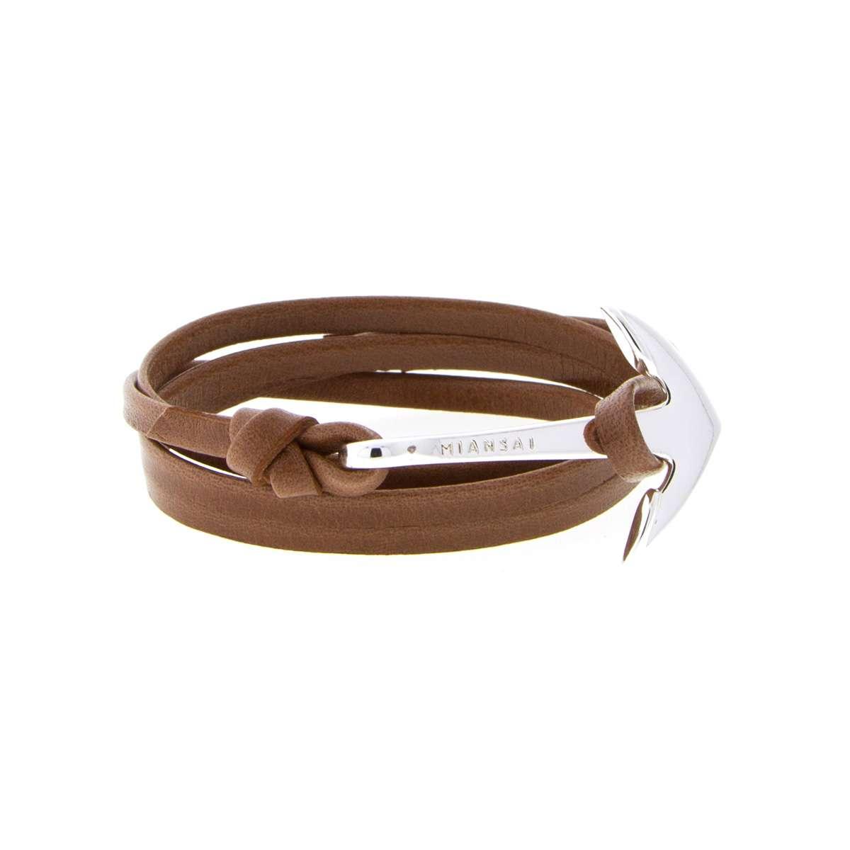 miansai brown leather silver anchor bracelt