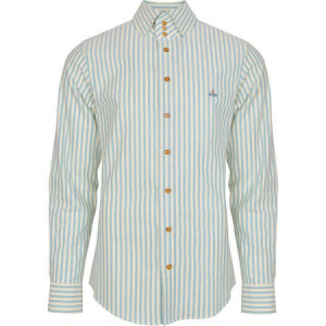 vivienne westwood man aqua blue and yellow stripped shirt