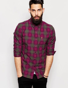 Farah Shirt with Space Dye Check Slim Fit