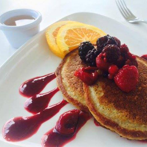 fresh protein pancakes with fruit at pure kitchen cardiff bay available with the discount voucher