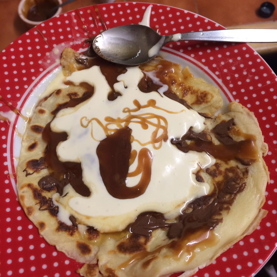pancake and homemade salted caramel sauce