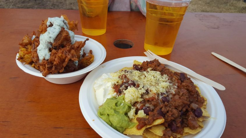 Festival food with venison chilli and veggie fritters at the 2016 Eisteddfod in Abergavenny