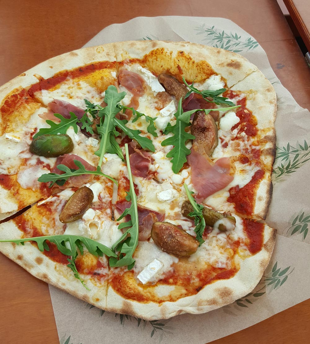 goats cheese proscuitto and fig pizza at the Eisteddfod 2016 in Abergavenny