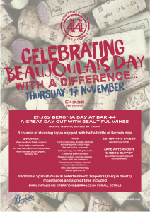 bar 44 beaujolais day menu in Cardiff 2016