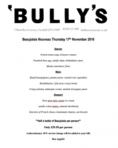 bully's beaujolais day menu in cardiff