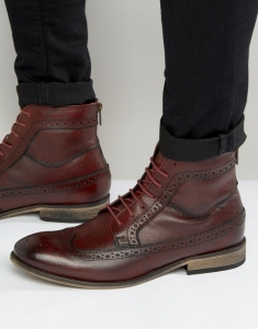 ASOS Brogue Boot In Burgundy Leather