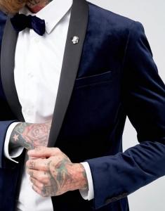 ASOS Skinny Blazer In Navy Velvet