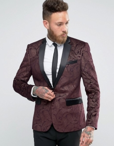 ASOS Skinny Blazer in Purple Velvet Paisley Print