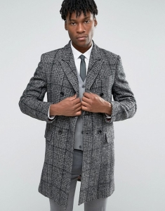 Devils Advocate Black And White Wool Rich Check Coat