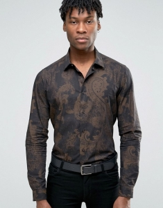 Devils Advocate Formal Printed Slim Fit Shirt