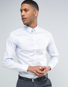 French Connection Semi Plain Birdseye Blue Slim Fit Shirt