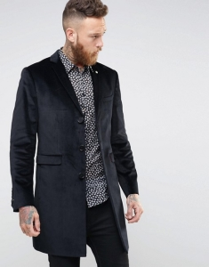 Noose & Monkey Black Velvet Overcoat