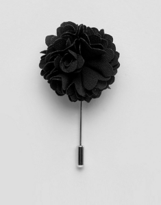 Noose & Monkey Flower Lapel Pin In Black