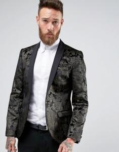 Noose & Monkey Super Skinny Blazer In Black Floral