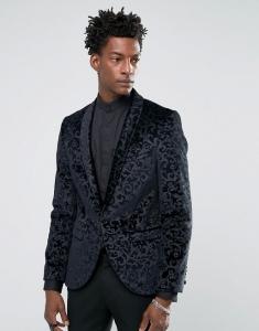 Noose & Monkey Super Skinny Blazer In Floral Velvet