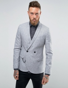 Noose & Monkey Super Skinny DB Blazer with Chain In Fleck