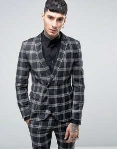 Noose & Monkey Super Skinny DB Suit Jacket In Check with Chain