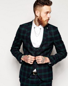 Noose & Monkey Tartan Suit Jacket