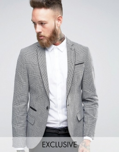 Noose & Monkey Super Skinny Blazer In POW Check with Piping
