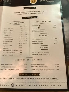 time and beef cardiff drinks menu