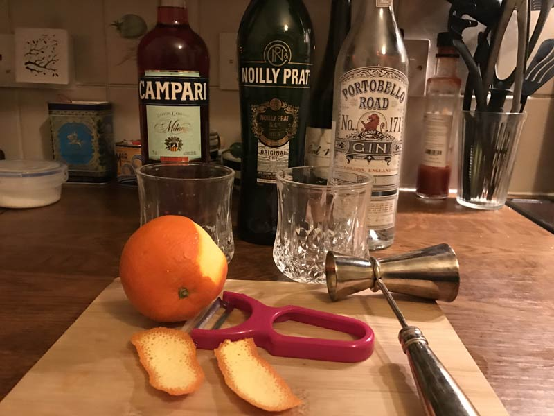 Negroni cocktail making