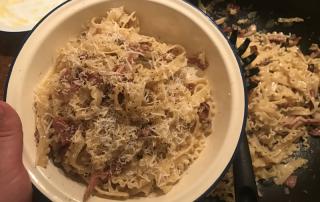 Carbonara with pancetta and parmesan