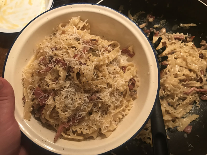 Carbonara with pancetta and parmesan