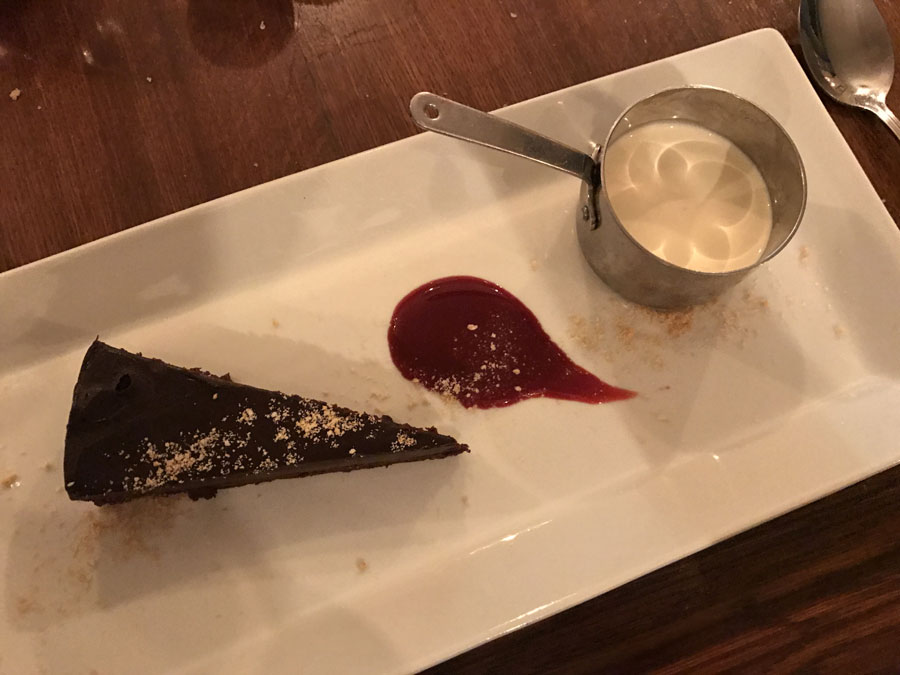 chocolate torte with raspberry coulis at Pot Bistro in Cardiff