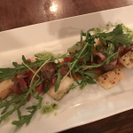 scallops with bacon and french sausage at the pot bistro in Cardiff