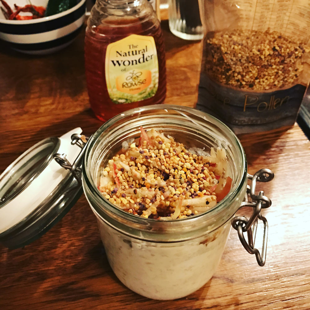 superfood overnight oats with bee pollen, honey and chia seeds