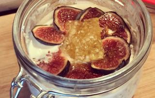 Fig, cinnamon, vanilla, chia, coconut and honey overnight oats recipe