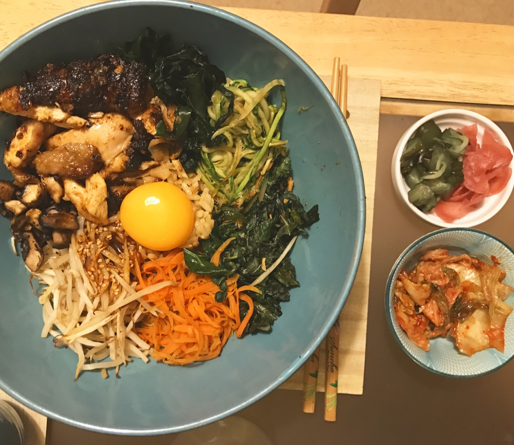 Gochujang and peanut butter chicken thigh with bibimbap