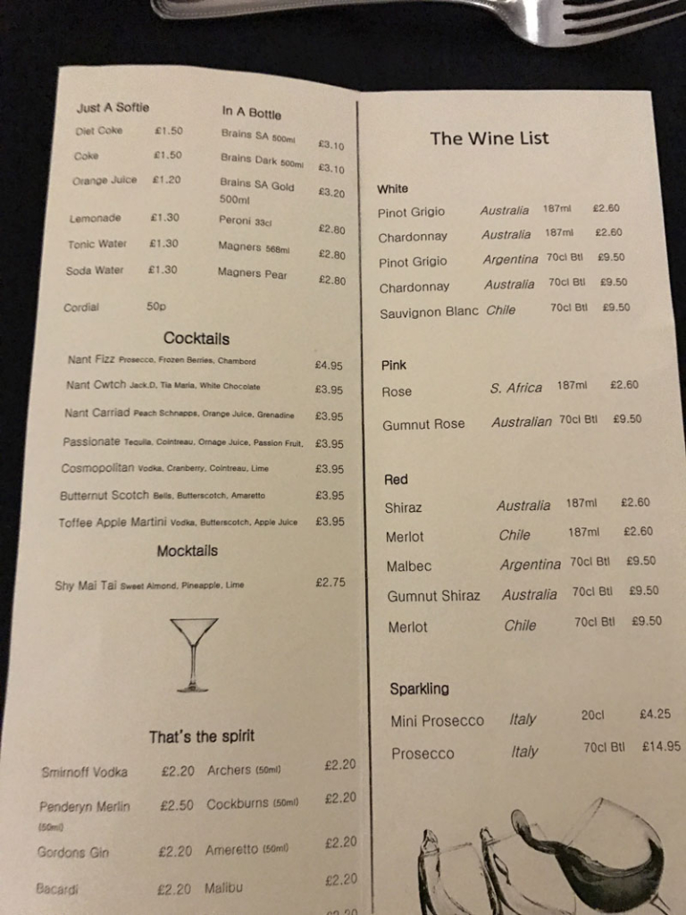 nant restaurant wine and drink menu