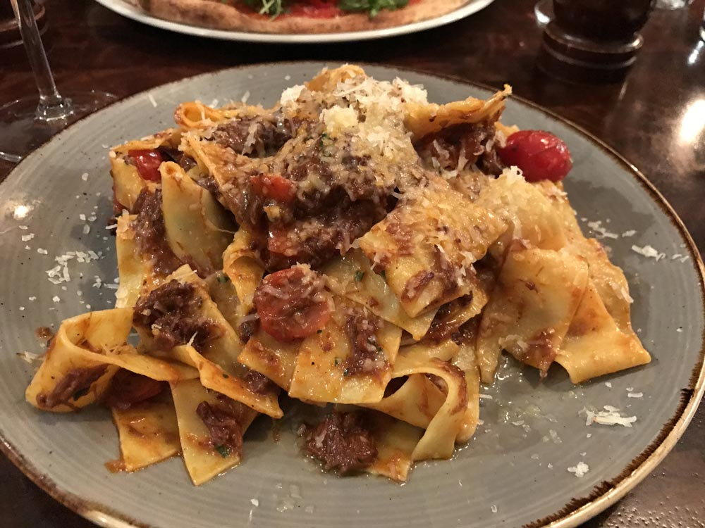 ox cheek pappardelle pasta at Porro Llandaff