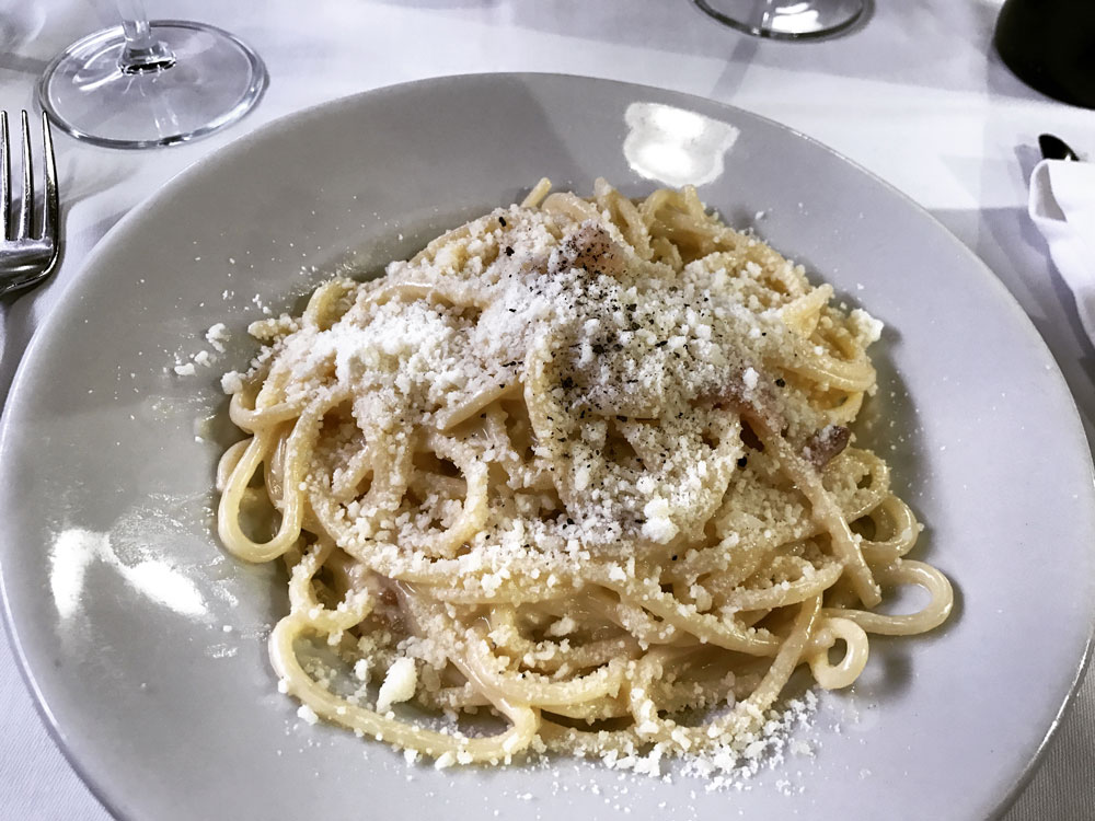 traditional spaghetti carbonara at Romana Taverna in Rome