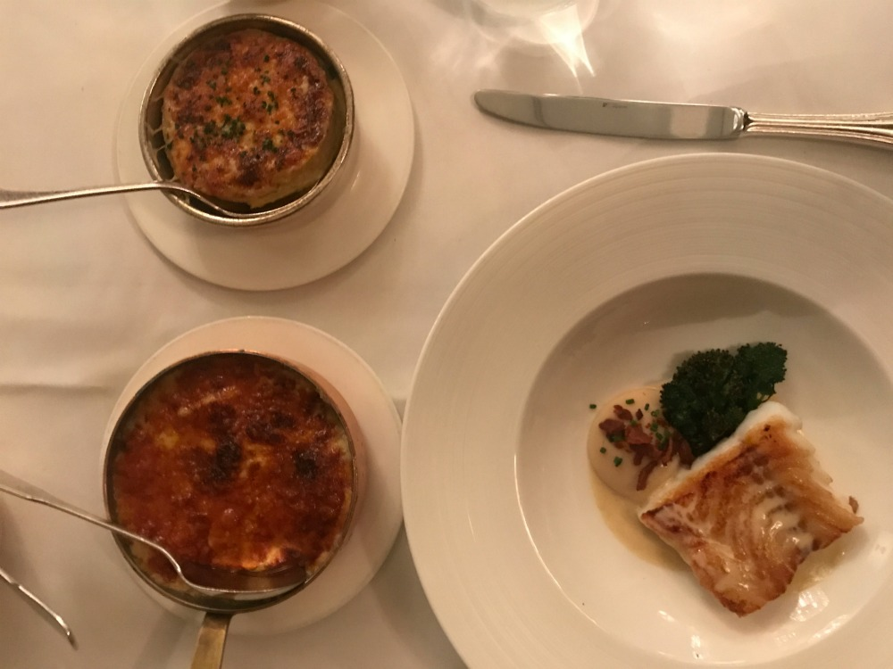 Fish main dauphinois potato and cauliflower cheese gratin at Savoy Grill Restaurant-2