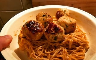 thai turkey and bacon meatballs with peanut butter sriracha noodles