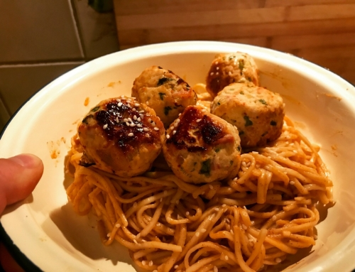 Thai Turkey and Bacon Meatball  with Peanut Butter Sriracha Noodle Recipe