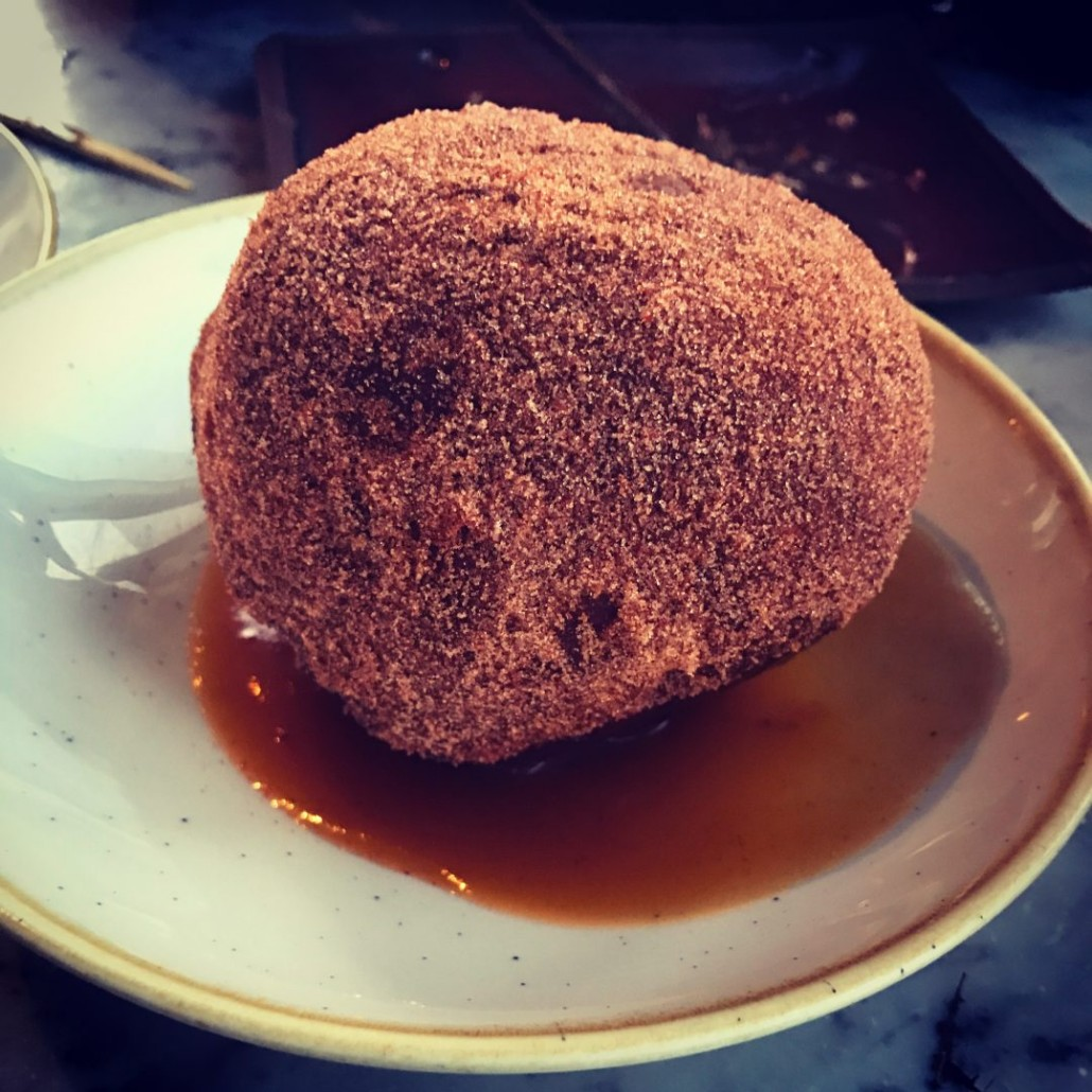 Ox cheek donut at Duck and Waffle London
