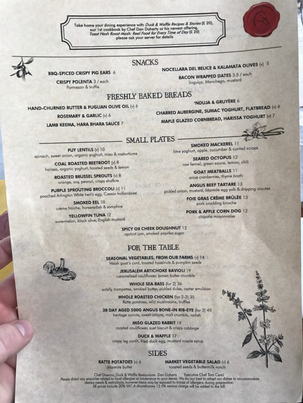 Day menu at Duck and Waffle