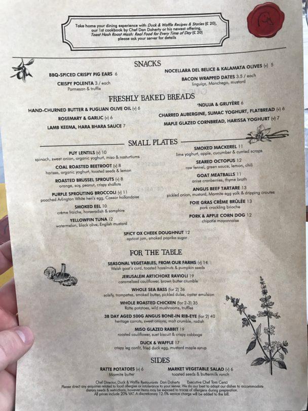 Day menu at Duck and Waffle
