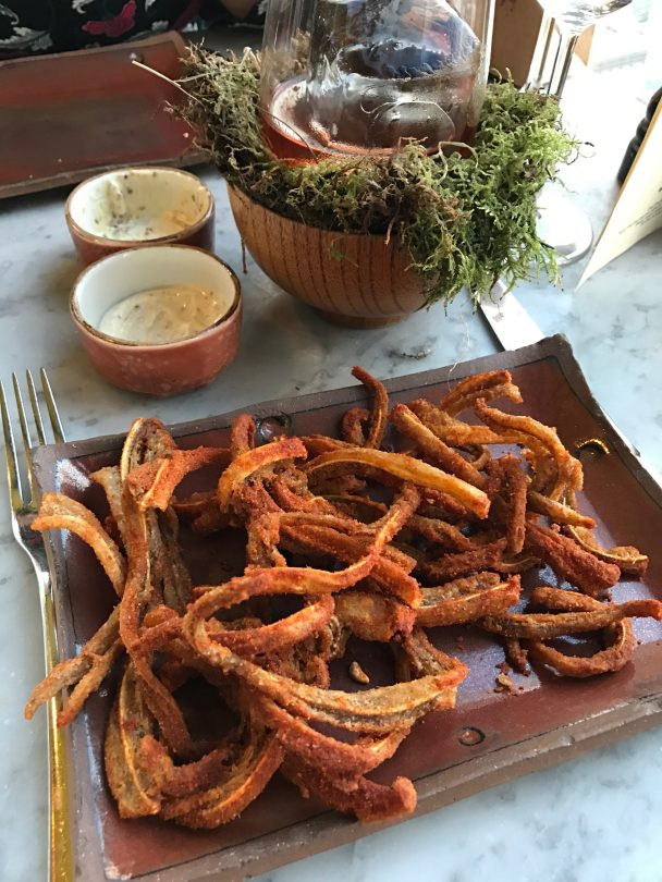 Crispy pigs ear at Duck and Waffle London