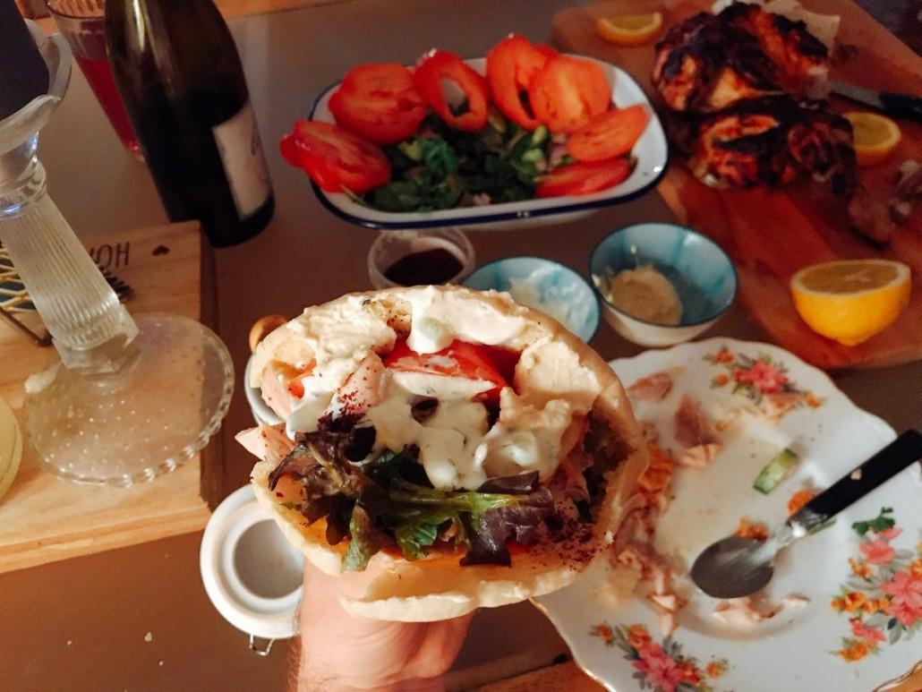 filled harissa chicken and tzatziki pitta