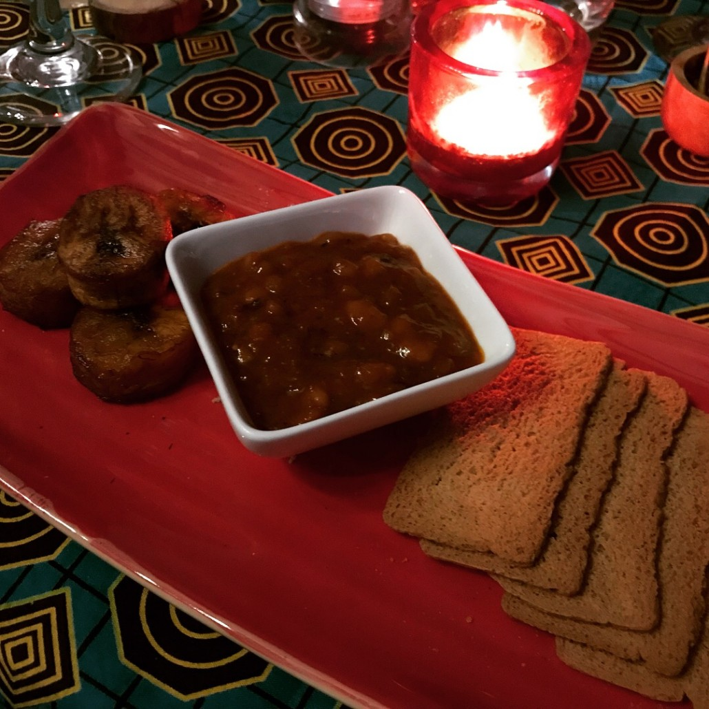 plantain and spicy beans at ChamCham supper club cardiff
