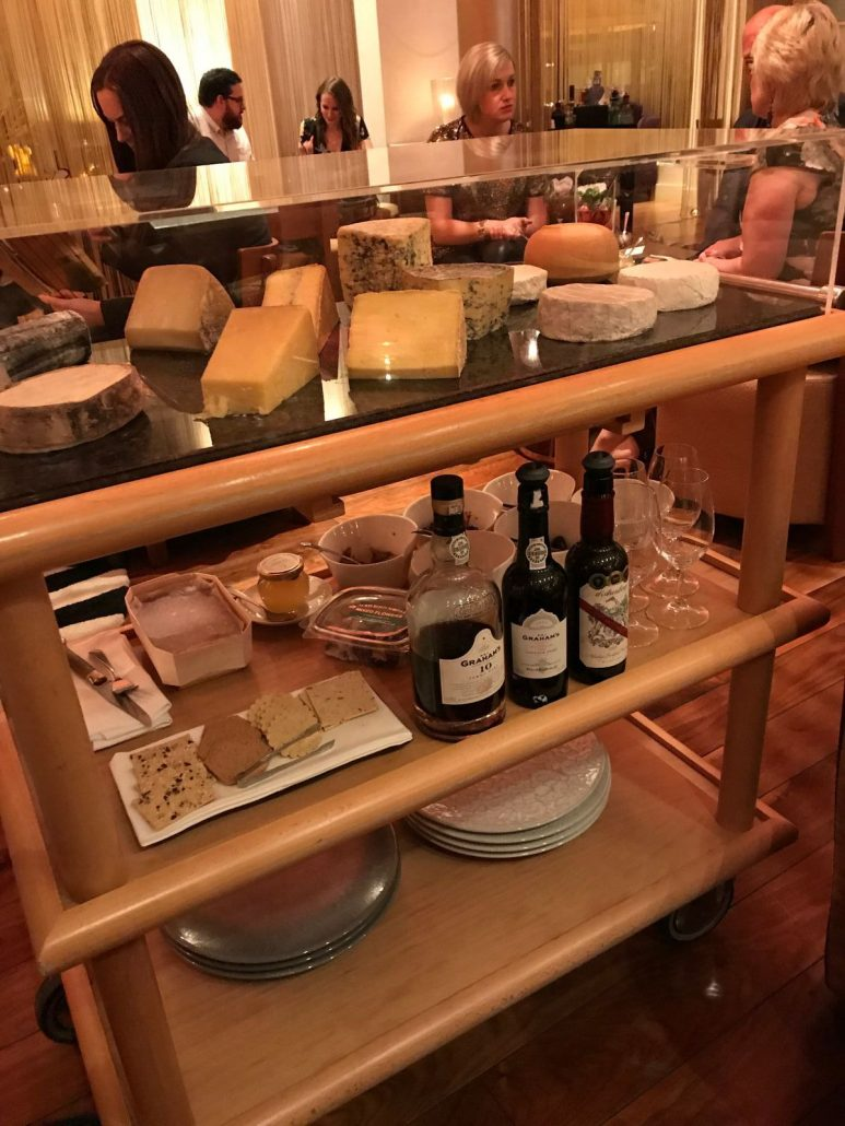 Cheese trolley at Mulberry Bar Celtic Manor