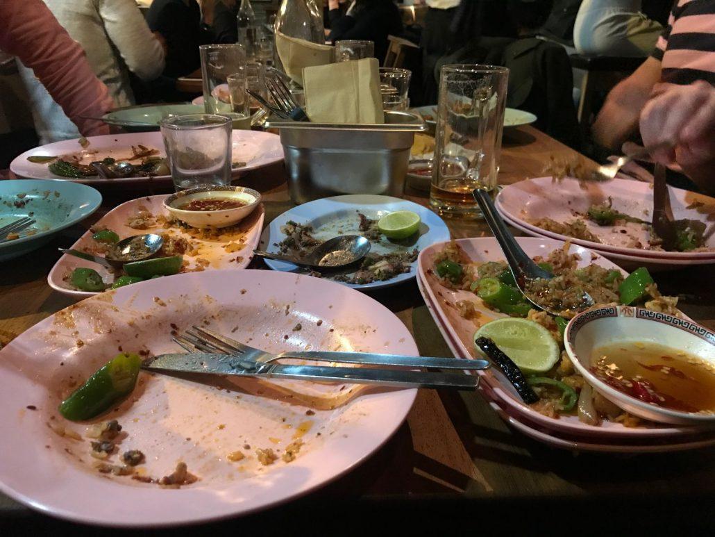 empty plates at smoking goat bar shoreditch