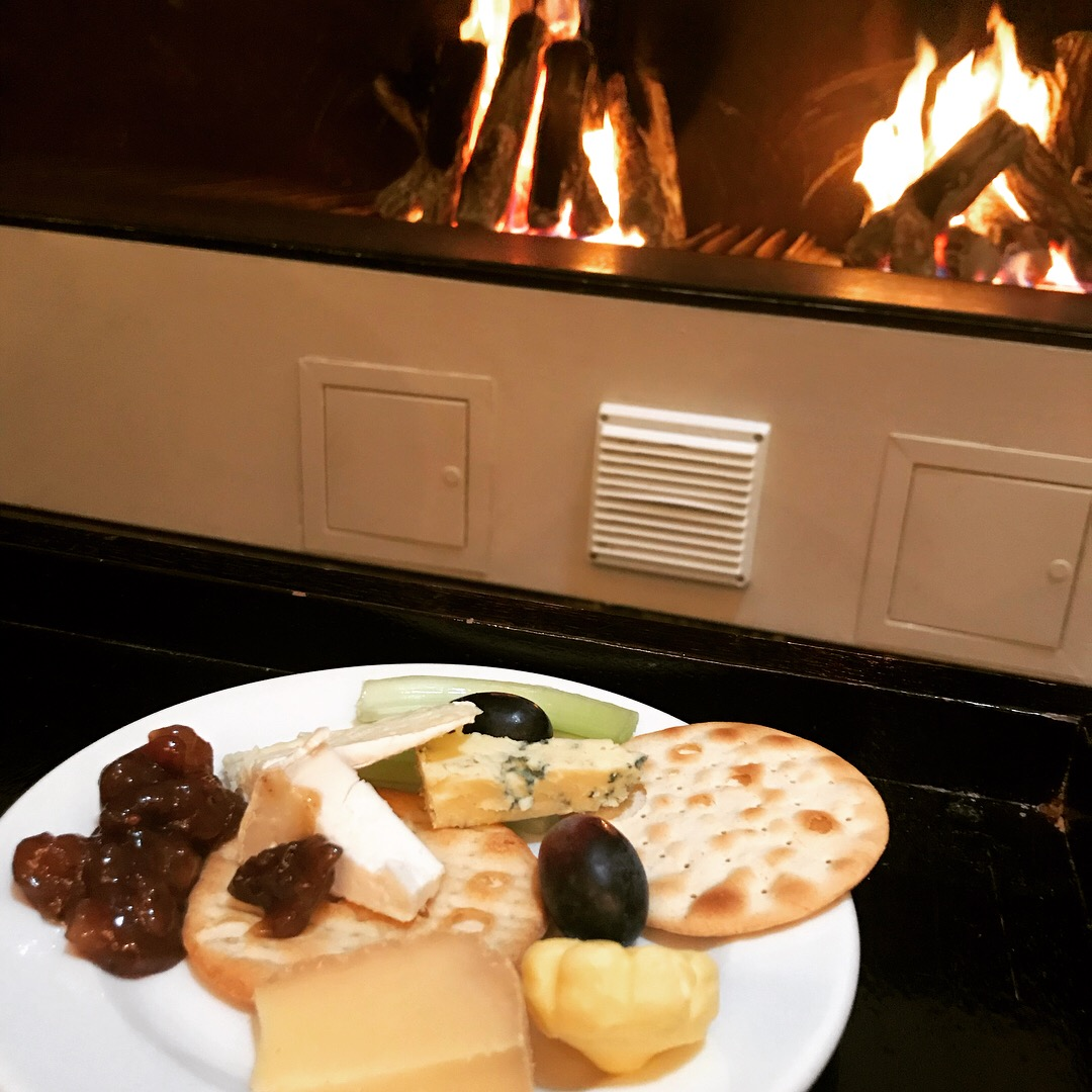 cheese board at Park Plaza Cardiff by the fire