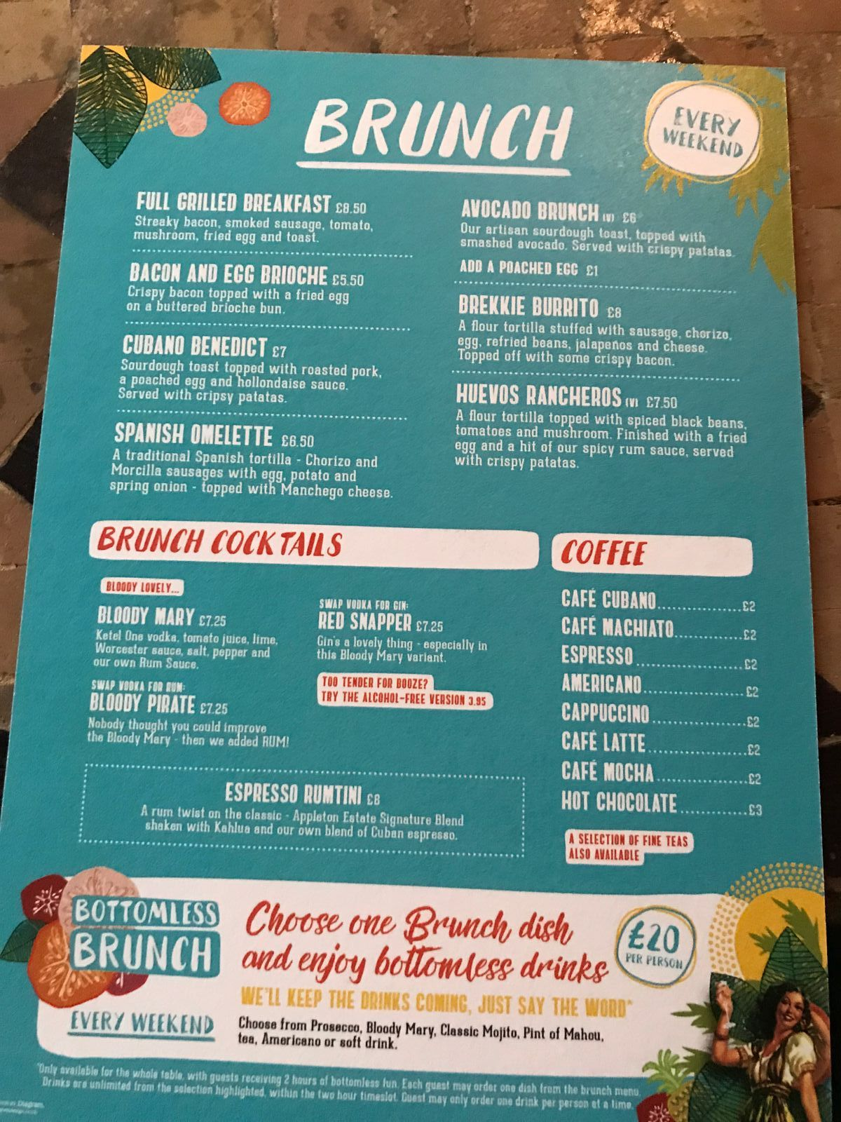 bottomless brunch menu revs de cuba cardiff